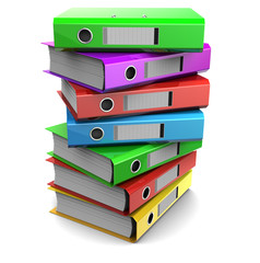 multicolored piles of binder folders