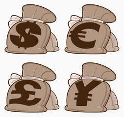 Set of Money Bags. Illustration on white background