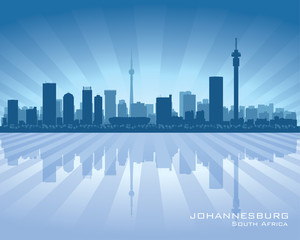 Johannesburg South Africa city skyline silhouette
