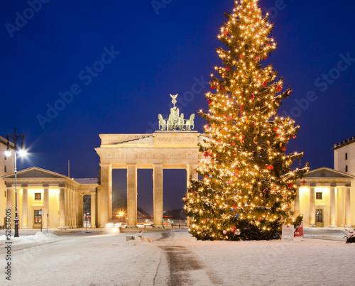 Leinwanddruck Bild Brandenburger Tor im Advent
