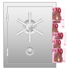 bank safe with ten euro banknotes