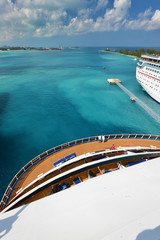 View from stern of big cruise ship - Nassau Bahamas
