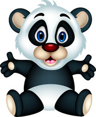 vector illustration of cute panda cartoon posing