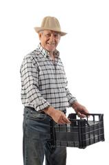 a man carries a plastic basket