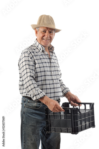 a man carries a plastic basket
