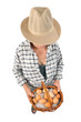 farmer man holds a basket with eggs