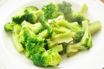 Steamy Broccoli on a White Plate