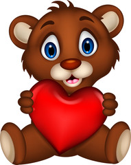 cute baby brown bear cartoon posing with heart love