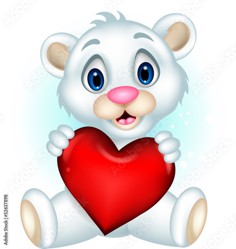 cute baby polar bear posing with heart love