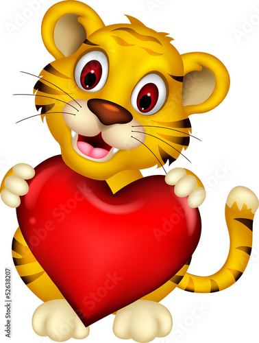 cute baby tiger posing with heart love