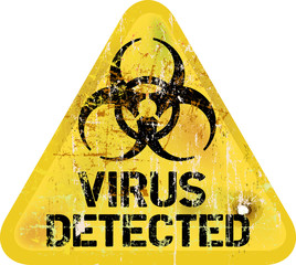 Computer virus alert, grungy sign, vector