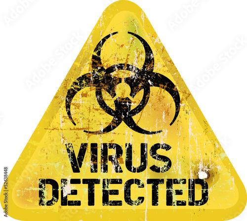 Computer virus alert, grungy sign, vector