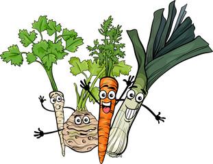 soup vegetables group cartoon illustration