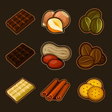 Fototapety Chocolate and coffee icon set
