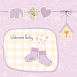 baby girl shower card with socks