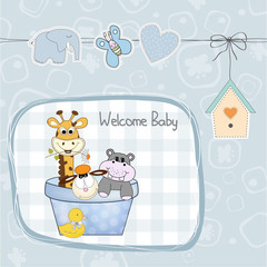 baby boy shower card with toys