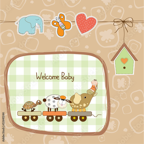 new baby announcement card with animal's train