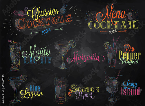 Set cocktail menu colored chalk