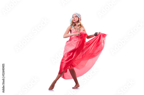 Woman dancing spanish dances on white