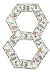 Number 8 eight wrapped 100 dollar banknote