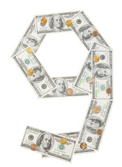 Number 9 nine wrapped 100 dollar banknote