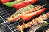 Shish kebab with red and green peppers on hot grill.