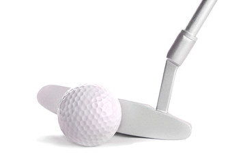 Golf ball and club, isolated on white
