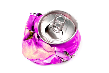 Crushed drink can