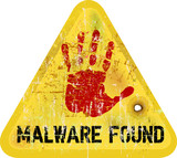malware / copmuter virus warning sign, vector poster