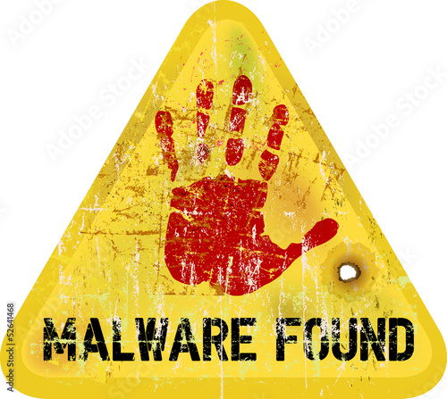 malware / copmuter virus warning sign, vector