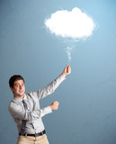 Young man holding cloud
