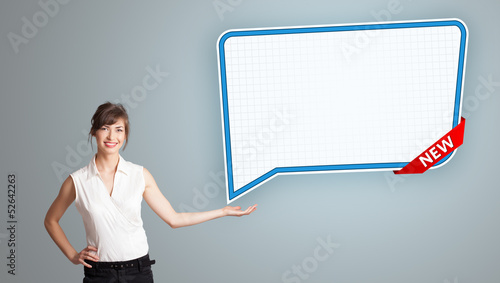 young woman presenting modern speech bubble copy space