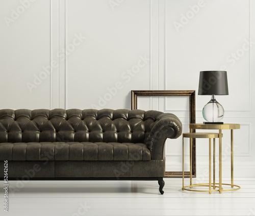 Vintage classic elegant living room with tufted leather sofa
