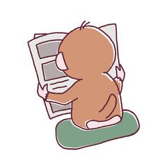 新聞を読むサル