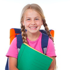 education, girl schoolbag holding folders smiling