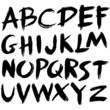 hand drawn font,brush stroke alphabet,grunge style - 52643614