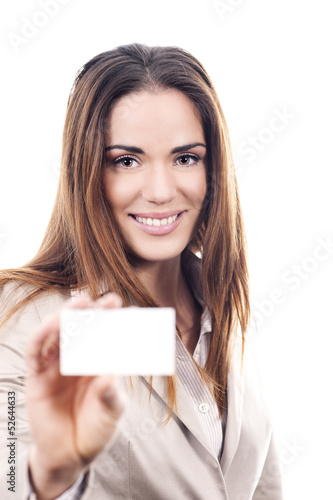 business woman handing a blank business card