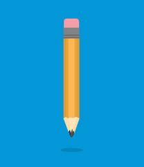 Pencil floating over blue background