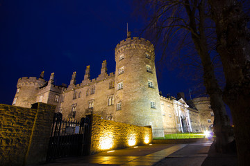 Medieval castle at night in Kilkenny Ireland