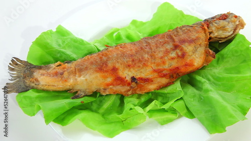 Fried fish on green salad