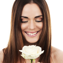 cute woman with white rose