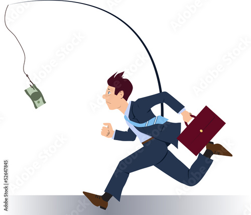 Businessman running after money