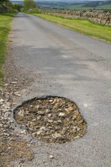 Close up of a large pot hole