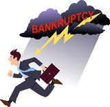 Businessman running from bankruptcy poster