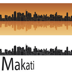 Makati skyline in orange background