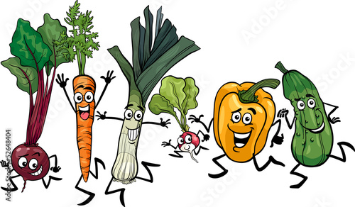 running vegetables cartoon illustration