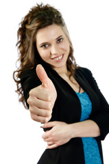 Attractive woman expressing positive gestures