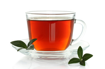 Cup of tea with green leaves on a white background .