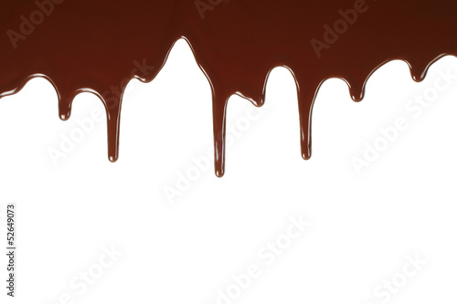 Melting chocolate dripping on white background .
