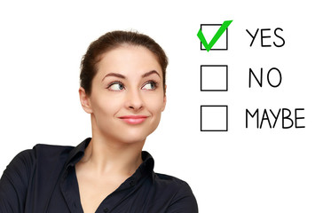 Business woman looking on option and select yes decision isolate